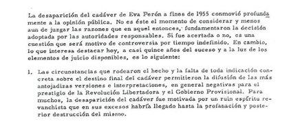 Párrafo de un trabajo de Estado Mayor realizado en 1970 para el general Alejandro A. Lanusse