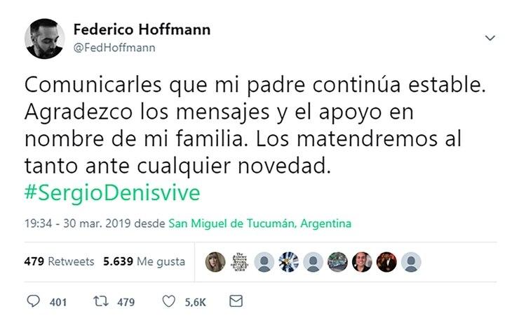El mensaje de Federico Hoffmann en Twitter