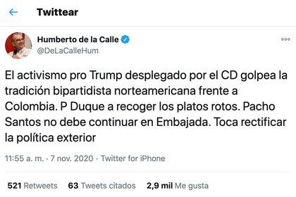 Humberto de la Calle. Elecciones EE.UU.