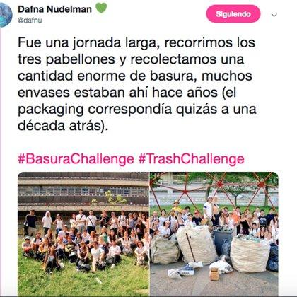 La argentina Dafna Nudelman se subió al desafío posteando una foto de 2010, cuando limpió los alrededores de Ciudad Universitaria.
