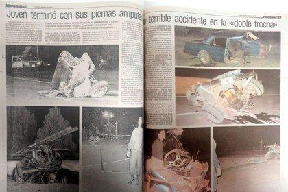 "La doble página del diario Chubut donde nació la historia de ""la chica del accidente"""