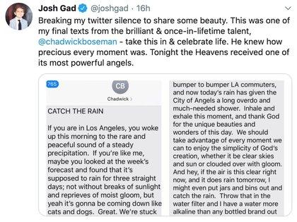 El actor compartió uno de los últimos mensajes que intercambió con Boseman  (Foto: captura de pantalla)