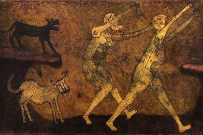 Dos personajes atacados por perros, 1983 (Foto: Museotamayo.org)