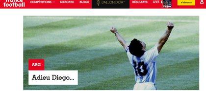 """Adiós Diego"", France Football, Francia"