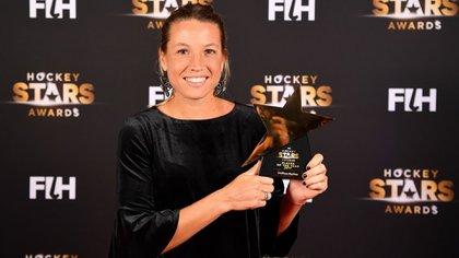 Merino, en el momento en el que recibió el premio a mejor jugadora del mundo