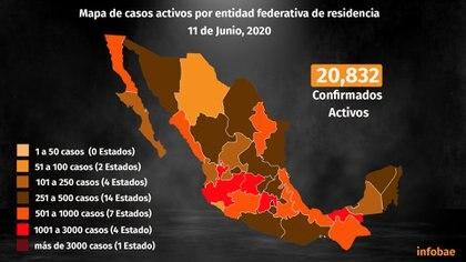 Mapa de casos activos por entidad federativa de residencia (Foto: Steve Allen)