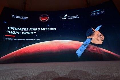 """La sonda Esperanza fue lanzada el 19 de julio de 2020 y es promocionada como """"la primera misión árabe interplanetaria""""  (Giuseppe CACACE / AFP)"""