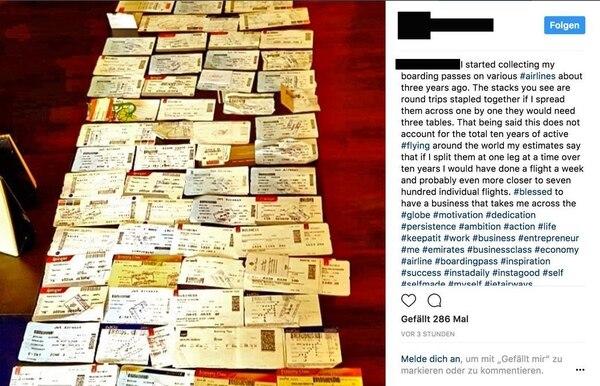 A los usuarios de Instagram les gusta subir fotos de sus vuelos. Captura de pantalla vía Instagram.