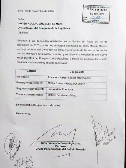 La lista encabezada por Francisco Sagasti, del Partido Morada, fue confirmada por el Congreso y se someterá a votación