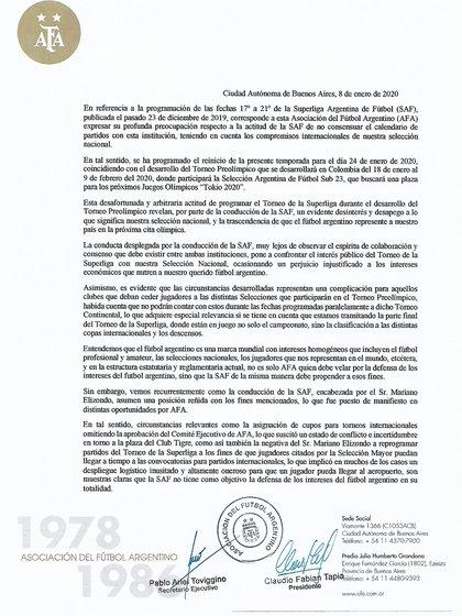 El duro comunicado de la AFA dirigido a Superliga