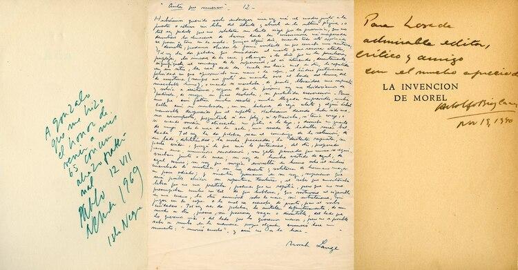 Manuscritos: una dedicatoria de Neruda, un texto de Norah Lange y otra de Bioy Casares