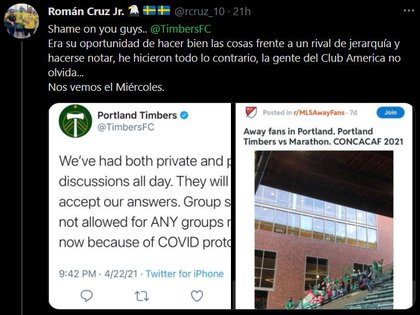 In the match between Timbers and Martahon, there were fans from Honduras at the MLS Stadium (Photo: Twitter @ rcruz10)