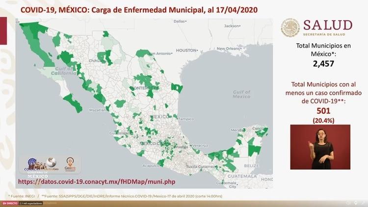 Los municipios con al menos un contagiado de COVID-19 ya superan el 20% del total hasta el viernes 17 de abril de 2020 (Foto: SSa)