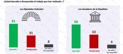 El trabajo de diputados y senadores apenas supera la mitad del porcentaje (Foto: Encuestadora Enkroll)