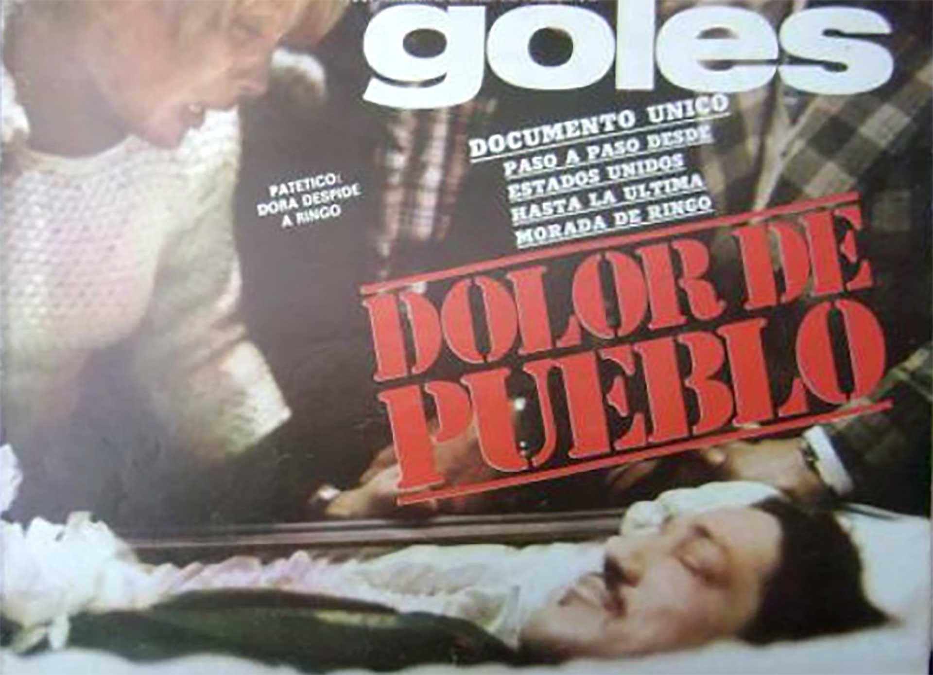 Dora, la mamá de Ringuito, despide a Bonavena en el Luna Park. La tapa de la revista Goles mostraba por última vez al ídolo argentino.