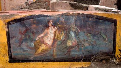 Detalle de la decoración descubierta en un termopolio, en el área arqueológica de Pompeya EFE/Parque Arqueológico de Pompeya/Luigi Spina