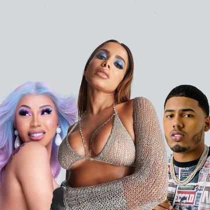 Fotografía sin fecha cedida por Imagine It Media / Warner Records que muestra a Cardi B (i), Anitta (c) y Myke Towers (d). EFE/ Imagine It Media / Warner Records