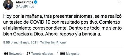 Abel Pintos anunció que tiene coronavirus (Foto: @abelpintos)