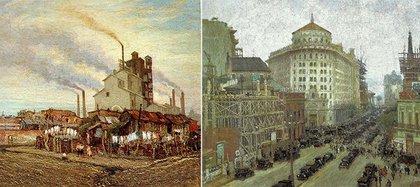 """De pobreza y desarrollo: a la izquierda, """"Barrio de La Quema"""", 1930 (Óleo sobre tela, 72,3 x 84,5 cm, en colección particular). A la derecha, """"El Banco de Boston o La Diagonal Norte"""", 1926. (Óleo sobre tela, 77 x 100 cm, en colección particular)"""