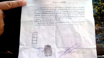 Inmediata libertad: el certificado que Benvenuto llevaba en su último arresto.