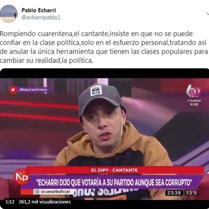 La respuesta de Pablo Echarri a El Dipy
