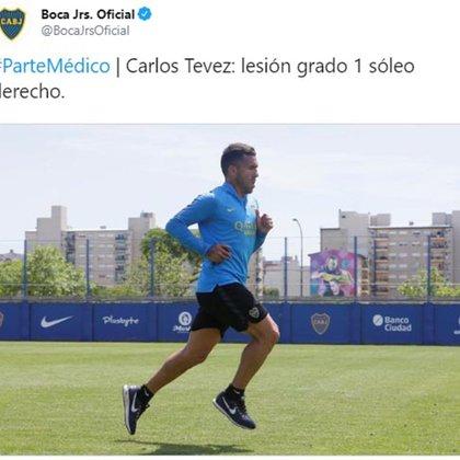 El parte médico que publicó Boca para informar la lesión de Tevez