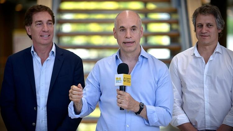 Diego Santilli, Horacio Rodríguez Larreta y Felipe Miguel