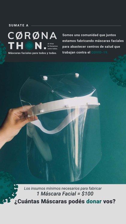 La máscara facial que elaboran los técnicos reunidos en la iniciativa colectiva Coronathon
