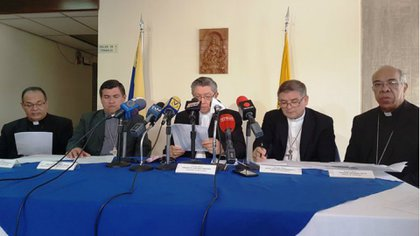 Una conferencia de prensa de miembros de la Conferencia Episcopal Venezolana (Archivo)