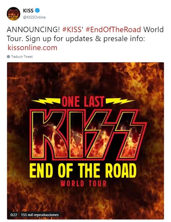 El anuncio también fue hecho desde la cuenta oficial de Twitter de la banda