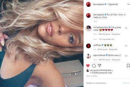 Ésta no es la primera ocasión en la que Danna Paola cambia radicalmente su aspecto durante la cuarentena (Foto: Instagram de Danna Paola)