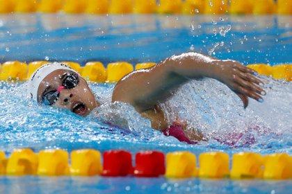 Delfina Pignatiello de Argentina gana la final de 800 metros libre, en los Juegos Panamericanos Lima 2019, en Lima (Perú). EFE/Paolo Aguilar/Archivo