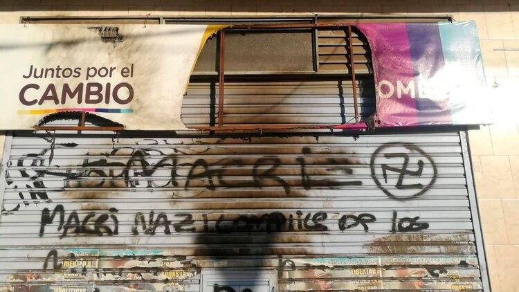 El local partidario de Juntos por el Cambio vandalizado