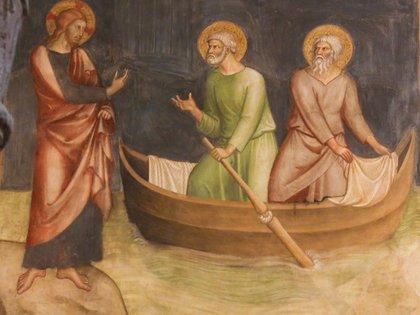 Fresco de Jesús con sus discípulos San Pedro y San Andrés, que pescaban. Está en San Geminiano, Italia (Shutterstock)