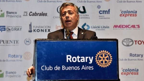 Cornejo criticó al Gobierno el miércoles, en el almuerzo del Rotary Club (Adrián Escandar)