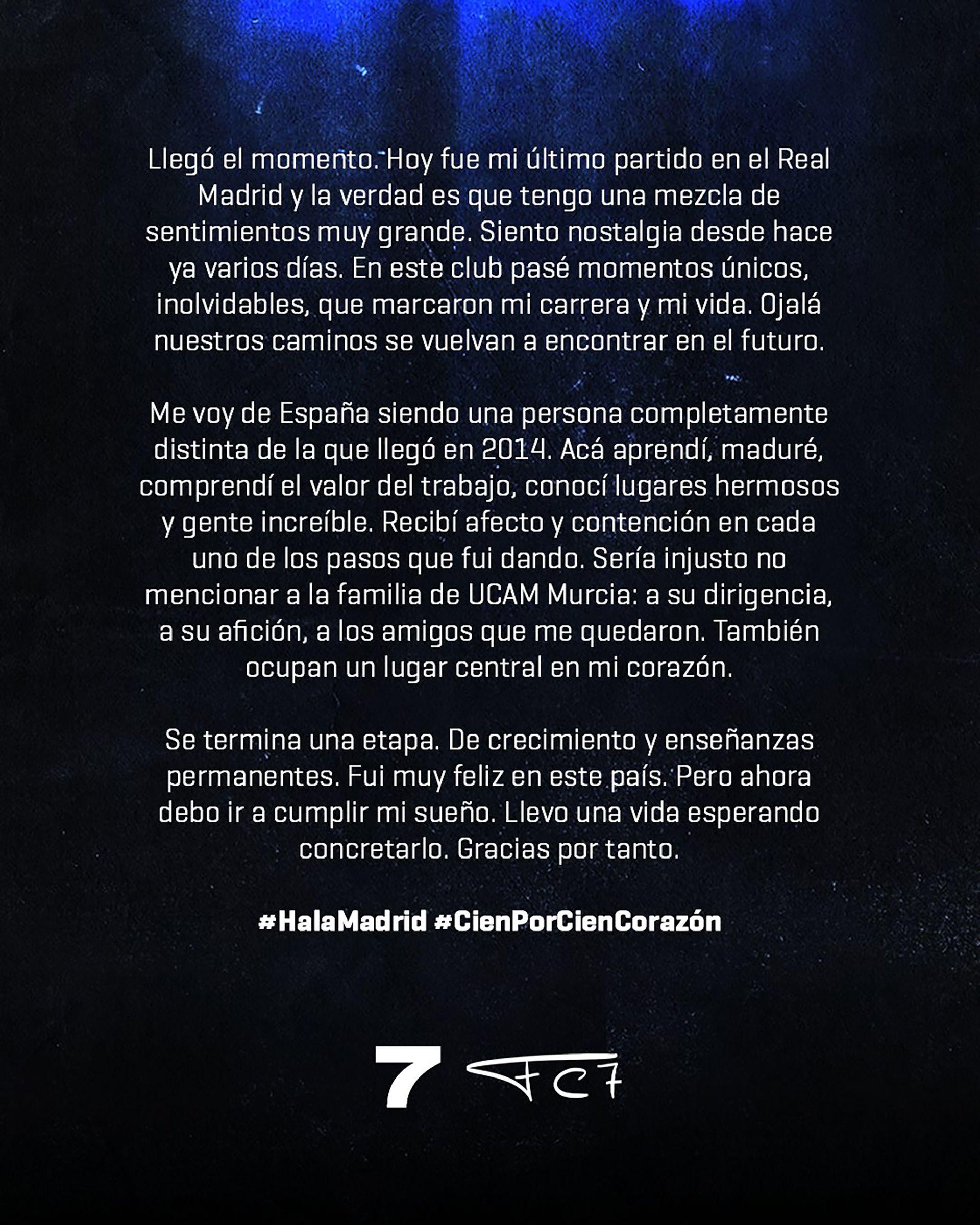 la carta de Campazzo para despedirse del Real Madrid