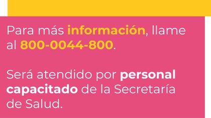 La Secretaría de Salud tiene la línea telefónica 800-0044-800 (Foto: Secretaría de Salud de Jalisco)