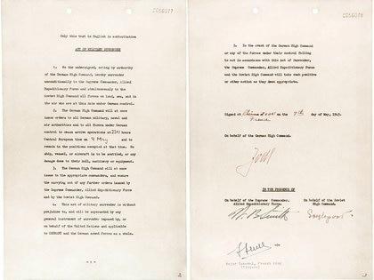 El documento firmado en Reims el 7 de mayo de 1945