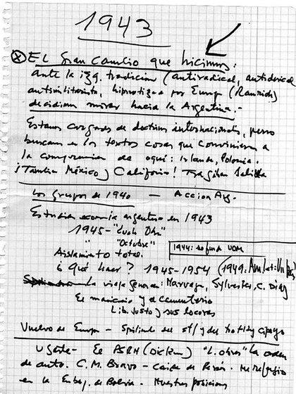 Apuntes manuscritos de Ramos para una autobiografía (gentileza: Laura  Ramos)