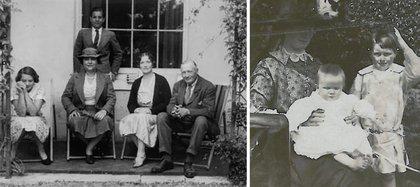 A la izquierda, su famila, con su padre Ed sobre el margen derecho. A la izquierda, junto a su madre y su hermano Edward (francis-bacon.com)