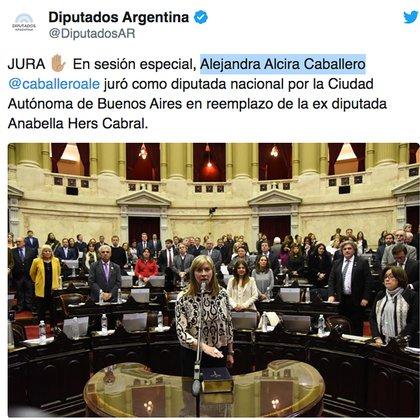 Jura de la diputada Alejandra Caballero en junio de este año en lugar de Anabella Hers Cabral.