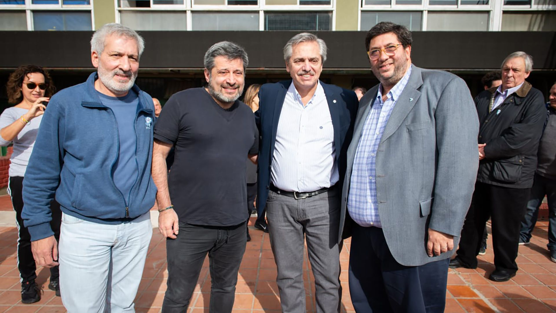 Claudio Ferreño, Víctor Santa María, Alberto Fernández y Juan Manuel Olmos