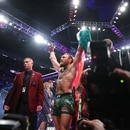 January 18, 2020; Las Vegas, Nevada, USA; Conor McGregor celebrates his TKO victory against Donald Cerrone following UFC 246 at T-Mobile Arena. Mandatory Credit: Mark J. Rebilas-USA TODAY Sports