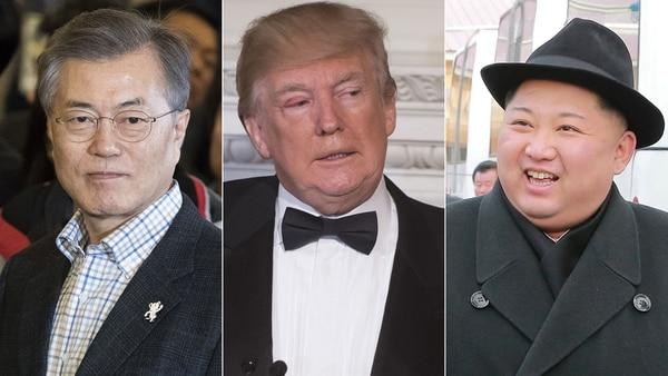 Moon Jae-in, Donald Trump y Kim Jong-un