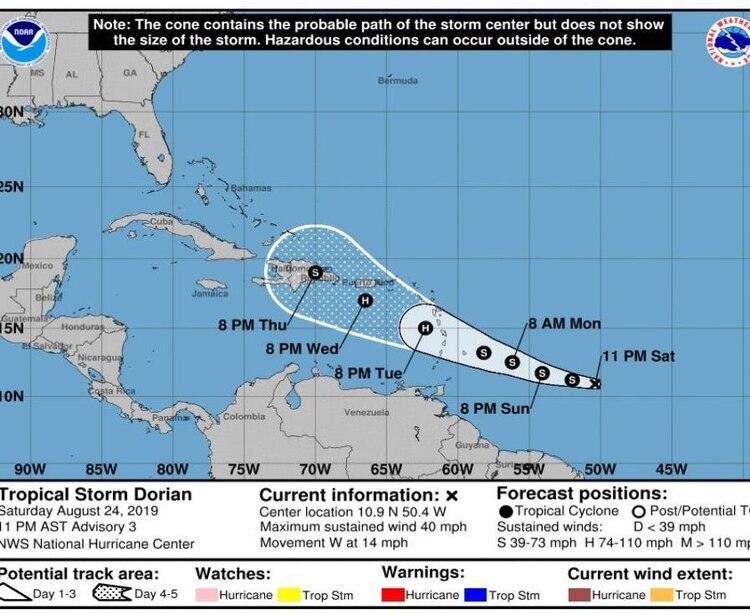 El camino de la tormenta tropical Dorian según el Servicio Meteorológico Estadounidense. (EFE)