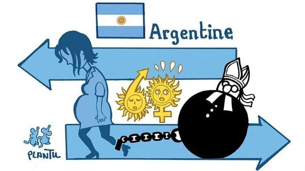 La caricatura con la que Le Monde ilustró la noticia del rechazo a la legalización del aborto por el Senado: una Argentina esclavizada por la Iglesia (dicho desde el país que venera a Juana de Arco)