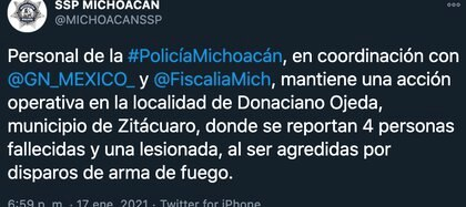 Elements of the National Guard (GN), the Michoacán Police, and the State Prosecutor's Office carry out tours in the area, in addition to the fact that, in conjunction with the SSP, checkpoints were installed (Photo: Twitter / @ MICHOACANSSP)