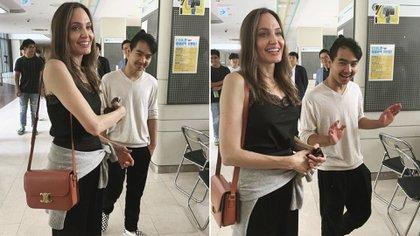 Angelina Jolie visitando la universidad a la que asiste su hijo Maddox (Foto: especial)