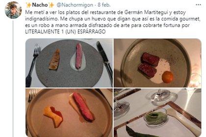 Un usuario de Twitter criticó el menú de Martitegui