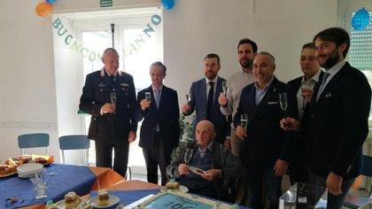 Giovanni Battista Calvi el día de su cumpleaños 106 (Foto: gentileza La Stampa)